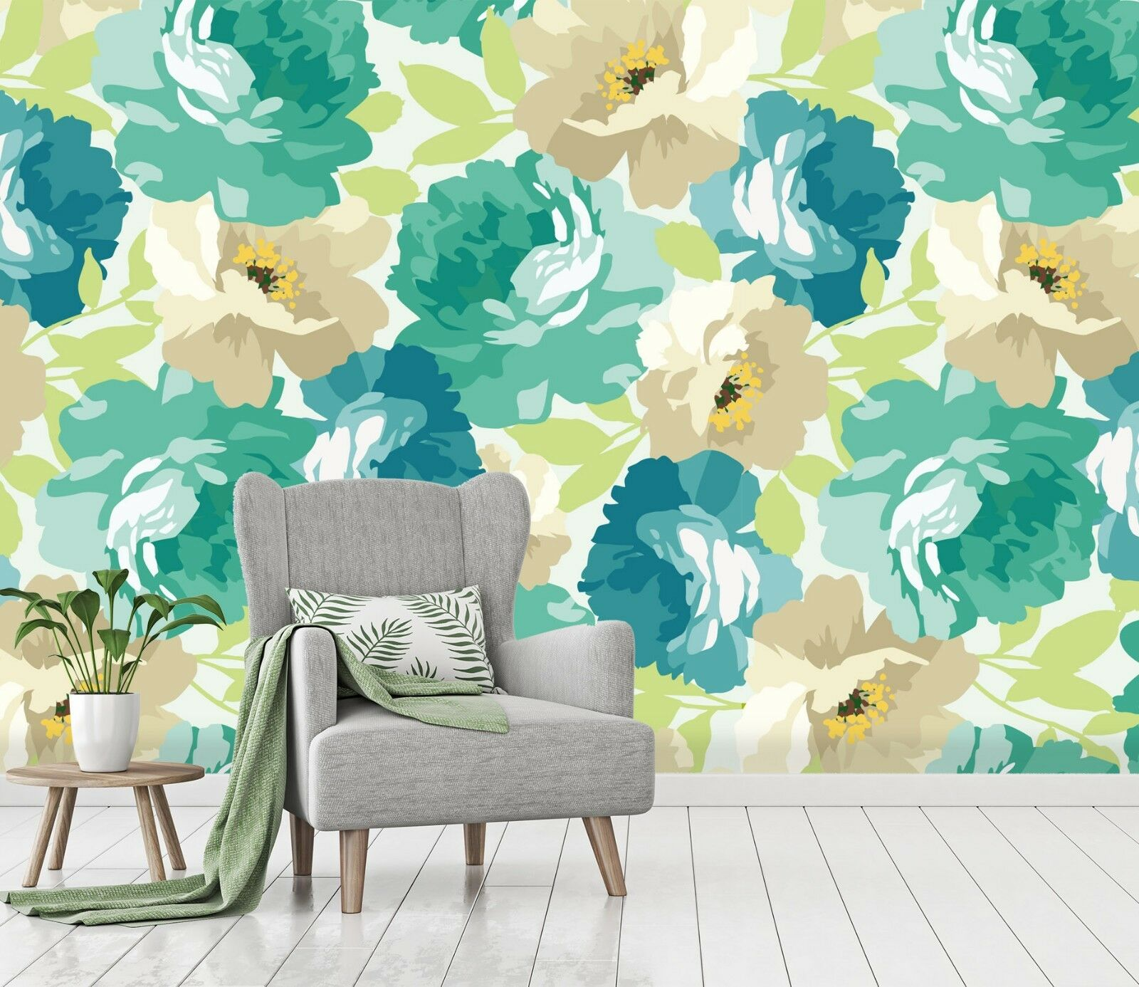 3D Blooming Grün Flowers 52 Wallpaper Murals Wall Print Wallpaper Mural AJ WAL