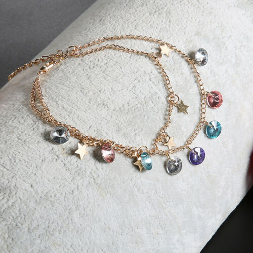 Women Delicate Pentagram Star Crystal Tassel Ankle Chain Multilayer Set ONE