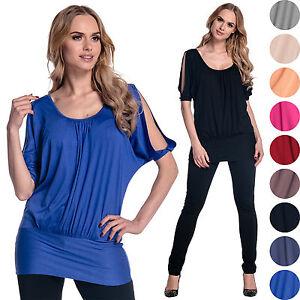 Glamour-Empire-Women-039-s-Open-Shoulder-Shirt-Batwing-Top-Half-Sleeve-UK-8-18-221