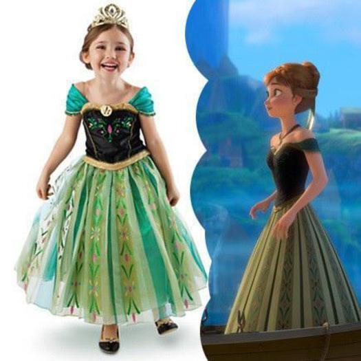 Disney Frozen Princess Anna Girls Kids Dress Skirt Cosplay Costume 3T-10T, Elsa