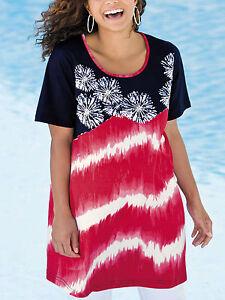 Ulla-Popken-NEW-Black-Red-Bead-Embellished-Firework-Tie-Dye-Tunic-Sizes-12-to-18