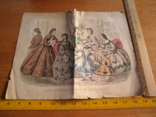 Madame Demorests Fashion Feb 1860s color fold out