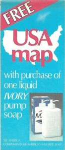 1985-IVORY-PUMP-SOAP-Road-Map-UNITED-STATES-Temperature-Humidity-Parks-HM-Gousha