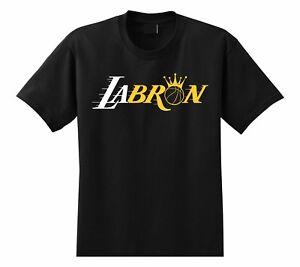 Labron-James-Lebron-King-James-Los-Angeles-Lakers-Crown-Black-Men-039-s-T-shirt