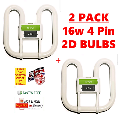 2 Pack 2D Fluorescent Bulb Garden Office Bathroom Ceiling ...