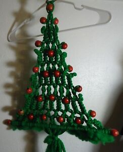 Details About Mid Century Green Macrame Christmas Tree W Red Beads Wall Hanging