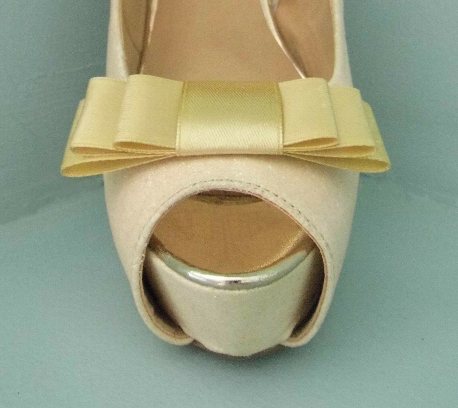 2 Gold Triple Bow Clips for Shoes - other colours on request