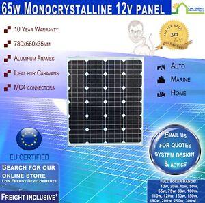 65 Watt 12v Monocrystalline Solar Panel 65w Freight Inclusive Ebay