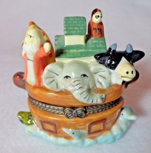 Noah's Ark Limoge Like Porcelain Hinged Box