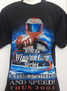 2003-Nascar-Winston-Cup-Car-Racing-Stars-Stripes-Speed-2-sided-T-Shirt-sz-L-NWOT
