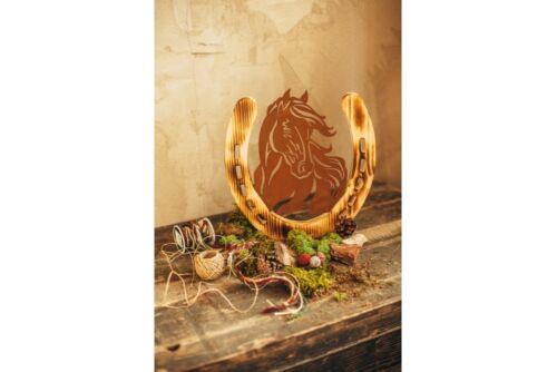 Pferd Pferdeportrait Holzpferd Dekopferd Holz Rost Edelrost Metall Dekoration