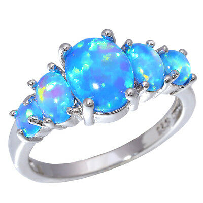Luxury Blue Fire Opal Women Jewelry Gemstone Silver Ring # 5/6/7/8/9/10 OJ4494