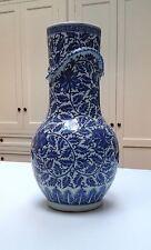 "ANTIQUE C19th CHINESE Blue & White Porcelain DRAGON VASE - Huge at 17.5"""