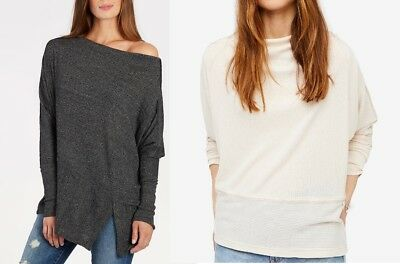 Free People Women Pullover Palisades Off Shoulder Thermal Sweater Tops Knitwear