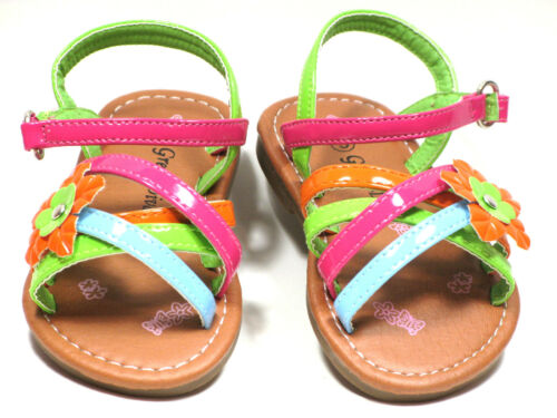 Yellow Toddler Girls Sandals Strappy Flower Multi Color Sz 3-11  Green