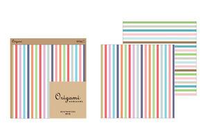 Midori-Japan-Origami-Paper-Stripe-Pattern-15cm-x-15cm-10-Sheets