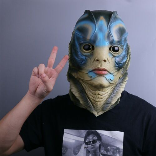 The Shape of Water Mask Cosplay 2018 Merman Helmet Fish Face Mask Handmade Latex