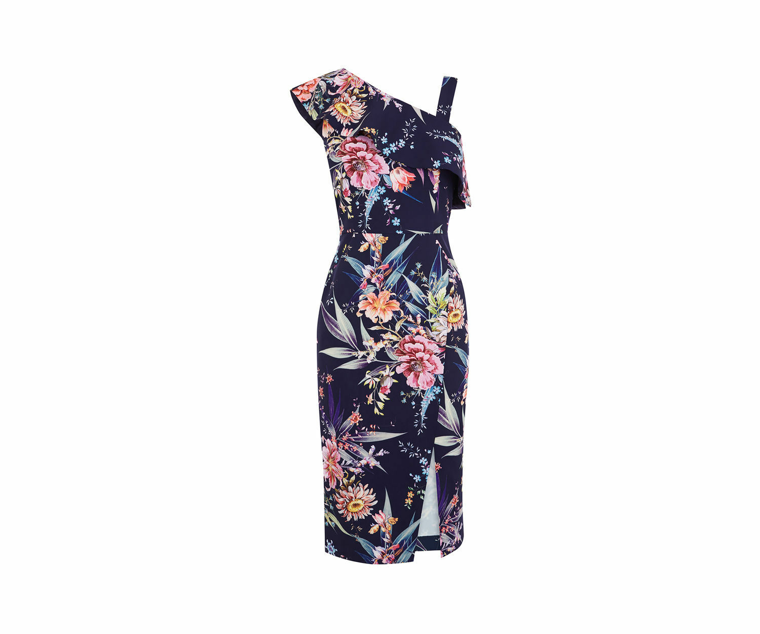 OASIS PENCIL DRESS blueE blueE blueE Tropical Floral 1 Shoulder PINK 1950s MIDI  Sz 12 NEW dc3d3e