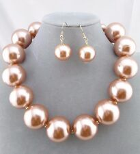 Chunky Champagne Tan Pearl Necklace Set Fashion Jewelry NEW