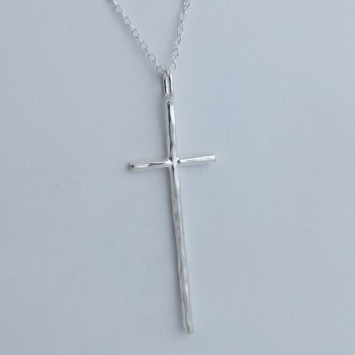 925 Sterling Silver Pendant Faith Religious NEW Long Hammered Cross Necklace