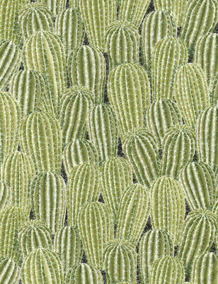 V FINEST LINEN COTTON POLY CANVAS GREEN WITH CACTI CACTUS  SCENE DESIGN SEE PIC