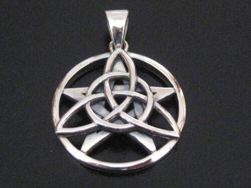 The DRUID AMULET Pendant TRIQUETRA /& PENTAGRAM  STERLING SILVER by Peter Stone