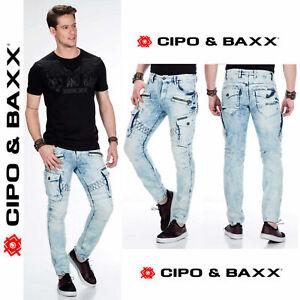 CIPO-amp-BAXX-Herren-Jeans-CD435-NEU-Hose-Slim-Fit-Enges-Bein-Denim