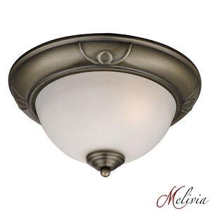 plafonnier-28-verre-blanc-laiton-antique-Plafonnier-Luminaire-lampe-tellerlampe