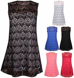 Womens-New-Sleeveless-Ladies-Stretch-Floral-Lace-Lined-Vest-Tunic-Top-Plus-Size