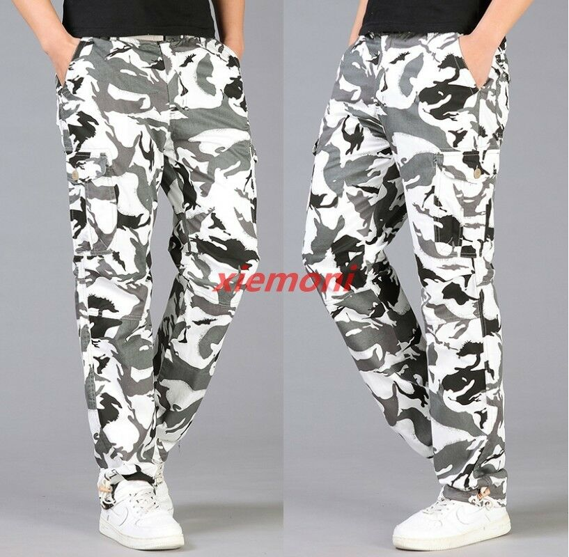 Camo Mens Casual Pants Work Trousers Straight-leg Loose Cargo Spring Outdoor x-1