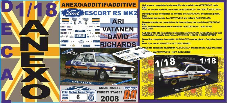 ANEXO DECAL 1 18 FORD ESCORT ARI VATANEN  COLIN COLIN COLIN MCRAE FOREST STAGES 2008  (01) 56173b