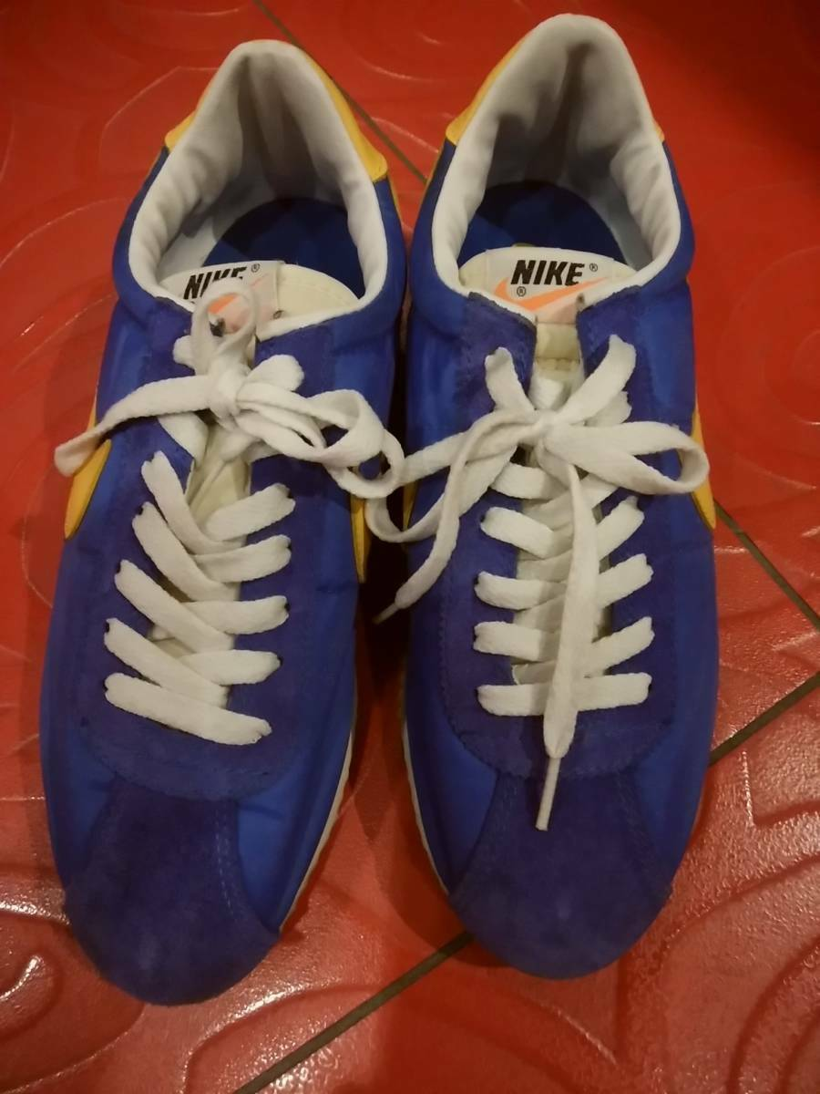 Vintage 1990's Nike Cortez Ⅱ Sneakers bluee Yellow color US9 27.0cm With Box
