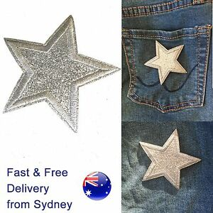 Silver-Star-Iron-on-patch-sparkling-glamorous-award-space-symbol-iron-on-patches