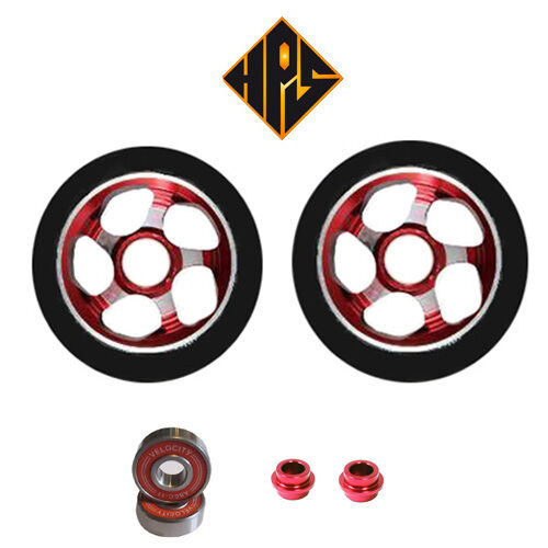 2X PRO STUNT SCOOTER RED DRILLED METAL CORE WHEELS 110mm 88A ABEC 9 BEARING
