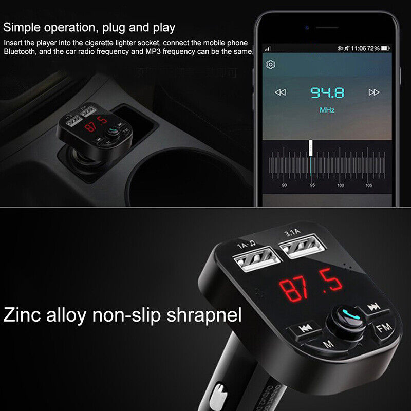 Bluetooth 5.0 Wireless FM Transmitter Car Audio MP3 Player Dual USB Charger Kit 7