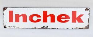 Vintage Old Rare Inchek Tyre Highway Oil Gas Station Porcelain Enamel Sign Board
