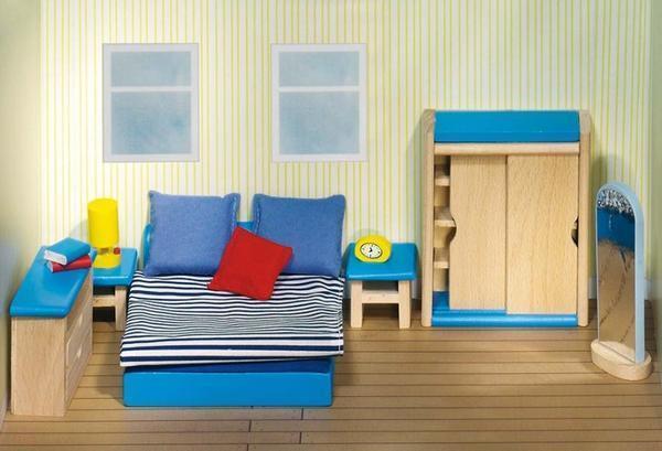 Goki 51906 - Puppenhausmöbel Schlafzimmer 14-teilig