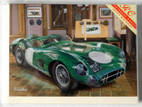 New with envelope Birthday card Aston Martin Race car in showroom