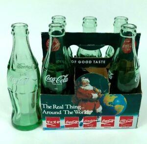 Vintage-Santa-CocaCola-6-5oz-Bottles-COKE-Classic-Green-Glass