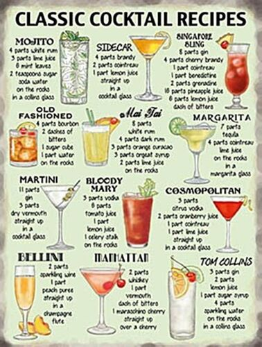 Classic Cocktail Recipes small STEEL sign 200mm x 150mm og