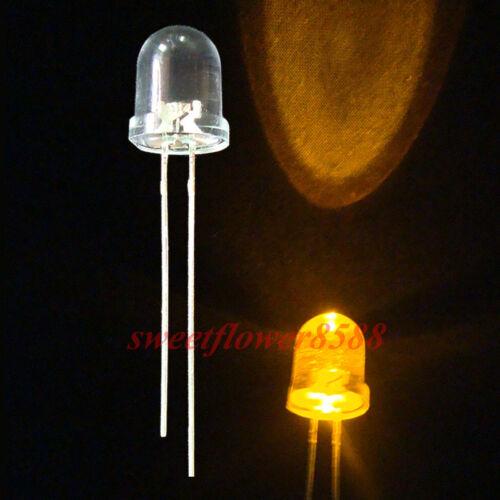 20pcs 8mm Yellow LED Ultra Bright Led Light Lamp Bulb /& 12V Resistor New