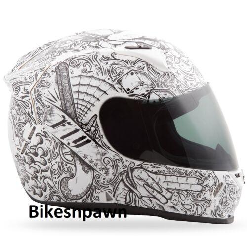 M Fly Racing Revolt FS Motorcycle Helmet Ink /& Needle White//Black DOT /& Snell