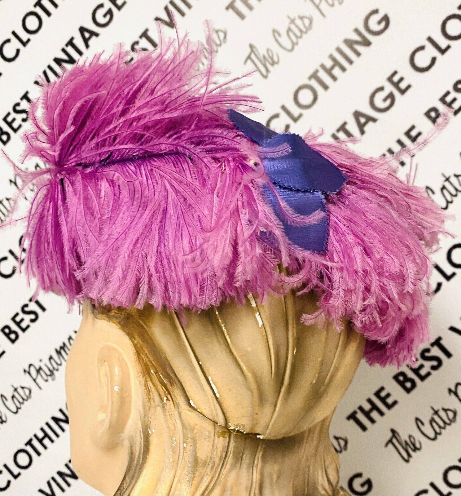 VINTAGE 1940's SUZY LEE Purple Feather Flowers Ha… - image 4