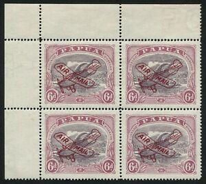 PAPUA-1930-SG-119-6d-Lakatoi-corner-blk-4-AIR-MAIL-overprint-superb-MUH