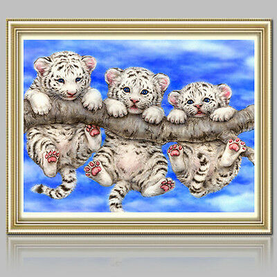DIY 5D Diamond Embroidery Painting Little Tigers Mosaic Cross Stitch Craft Kit