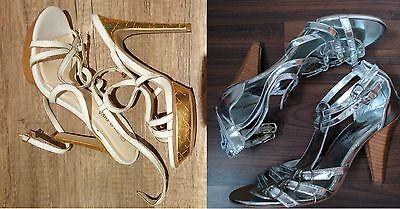 2 x Sandaletten Highheels Schuhe Gr. 36 WILD DIVA USA TOP Stilettos METALLIC