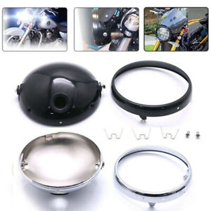 7-034-Motorcycle-LED-Headlight-Mounting-Housing-Bucket-For-7Inch-Headlight-Blac-HO