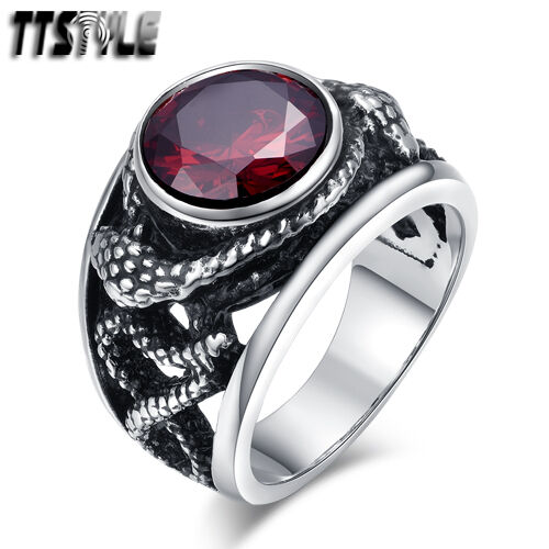 Unisex Quality TTstyle 316L S.Steel Twisted Snake Sparking Red CZ Ring NEW