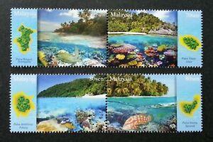 SJ-Malaysia-Islands-amp-Beaches-III-2015-Coral-Reef-Turtle-Map-stamp-MNH