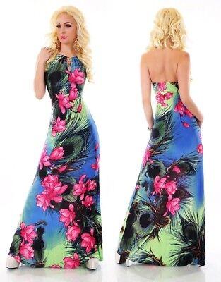 Vestiti Eleganti Fiorati.Abito Vestito Lungo Donna Sera Elegante Dress Fiori Sexy Festa